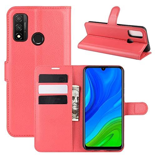 BEIJING  PROTECTIVECOVER+ / for Huawei P Smart 2020 Litchi Texture Horizontal Flip Funda Protectora con Soporte y Ranuras Tarjetas y Billetera, Fashion Phone Funda para Protector (Color : Rojo)