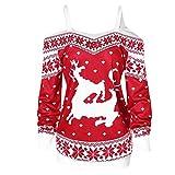 Camiseta de Navidad para mujer, sin hombros, blusa, elegante, sudadera de invierno y otoño, sudadera de manga larga, diseño de Elk rojo S