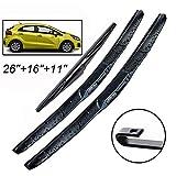 Xukey - Set di 3 spazzole tergicristallo anteriori e posteriori per Rio UB Hatchback 2011 – 2017