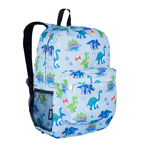 Wildkin Kids 16 Inch Backpack for Boys and Girls, Ideal Size for Kindergarten, Elementary, and Middle School, Perfect for School and Travel, 600 Denier Polyester, BPA-Free, Olive Kids (Dinosaur Land)