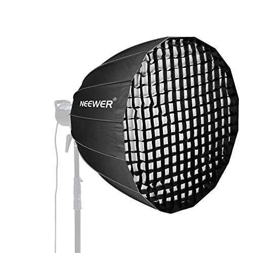 Neewer 38 Zoll Tiefe Parabolische Softbox mit Bowenshalterung, abnehmbarem Diffusor und Gitter, schnell klappbarer Softbox Diffusor für die Fotografie Monolight und mehr