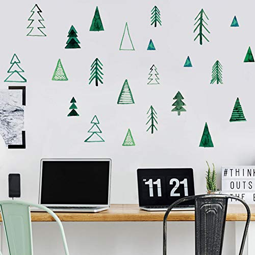 LNOFG Green Small Pine Wood Combination Wall Stickers Bedroom Living Room Decoration Tv Background Stickers Home Wallpaper