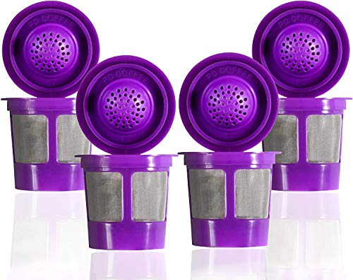Reusable Filter Cups Compatible with Keurig K-Cups for Keurig 1.0 & 2.0 Machines (4-Pack ) - Fits Most Keurig K-Cup Home Brewer (Purple)