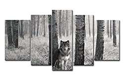 So Crazy Art 5 Panel Wall Art Painting Watchful Wolf Eyes In The Wild Prints On Canvas The Picture Animal Pictures Oil For Home Modern Decoration Print Decor