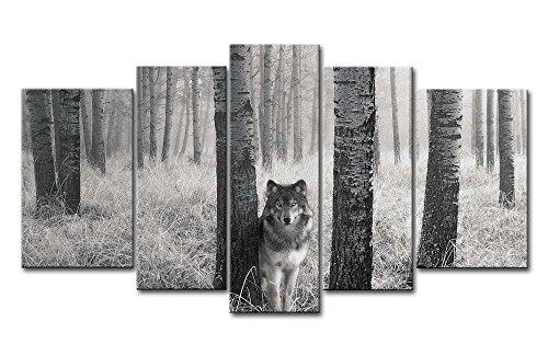 So Crazy Art 5 Paneles de Pintura de Pared Ojos de Lobo Vigilantes en el Salvaje Impresiones sobre Lienzo, imágenes de Animales al óleo para decoración Moderna para el hogar
