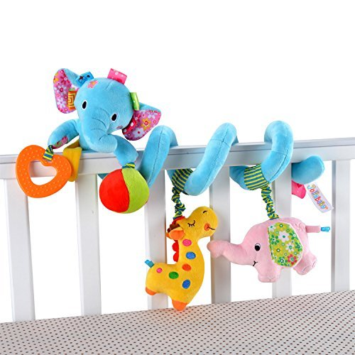 Iwinna Baby Pram Toys Spiral Activity Hanging Toys Stroller Toy Car Seat Bed Hanging Toys with Ringing Bell for 0-6 Months Baby, Boys, Girls (Colour 3)