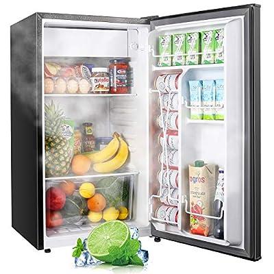 TECCPO Mini Fridge with Freezer TAMF32, 3.1 Cu.Ft, Low Noise, Energy Star, 6 Settings Temperature Adjustable, Mini Fridge for Bedroom, Dorm