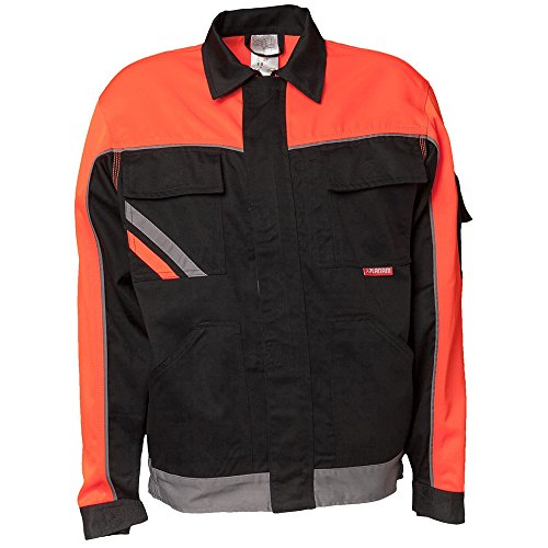 Planam Bundjacke Visline V1, Größe 52, schwarz / orange / zink, 2411052
