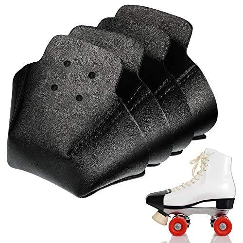 4 Pieces Toe Cap Guards Protectors Toe Caps Artificial Leather Roller Skate Cap Protectors for Quad Roller Skate (Black)