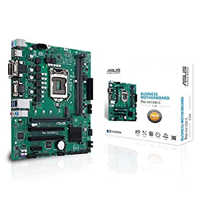 ASUS PRO H410M-C/CSM LGA1200 (Intel 10th Gen) Micro ATX Commercial Motherboard (M.2, Intel LAN, DVI, LPT, LPC debug Header, Chassis Intrusion Header and ASUS Control Center Express)