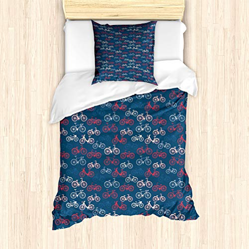 ABAKUHAUS Fiets Dekbedovertrekset, Bike Sketches on Blue, Decoratieve 2-delige Bedset met 1 siersloop, 135 cm x 200 cm, Veelkleurig