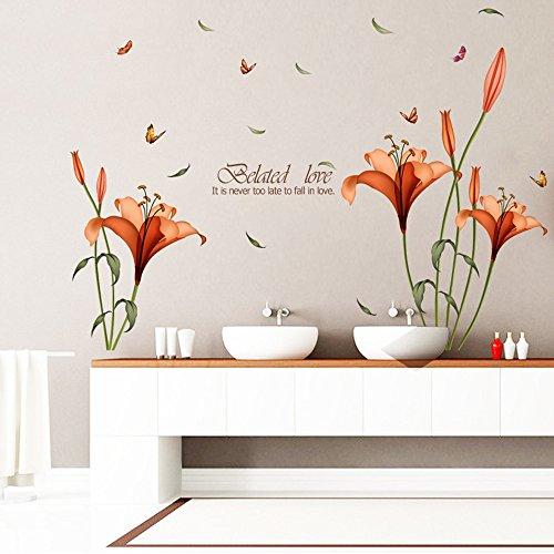 Harpily Decoración del hogar Pared Vinilo Adhesivo Adhesivos Arte Mural, Color Morado de Mariposas y Flores Elegante (A)