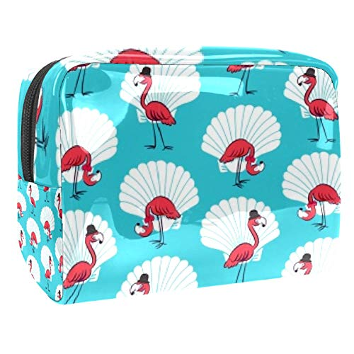 Bolsa de maquillaje portátil con cremallera bolsa de aseo de viaje para las mujeres práctico almacenamiento cosmético bolsa caballero flamenco vieira