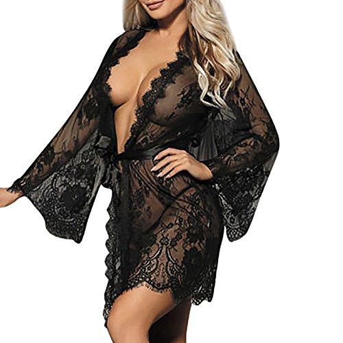 QIUMINGSS Damen unterwäsche Interessant Set Bodys offen Babydoll Mantel G-Schnur Spitze Versuchung Nachtwäsche Durchsichtige Exquisite