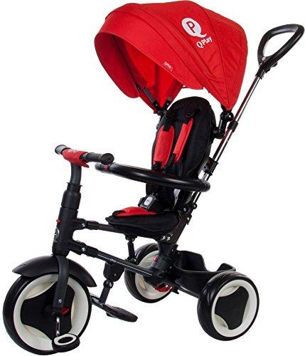 Driewieler kinderwagen baby kind opvouwbaar Qplay Rito met schuifstang baldakijn riemen en mand rood