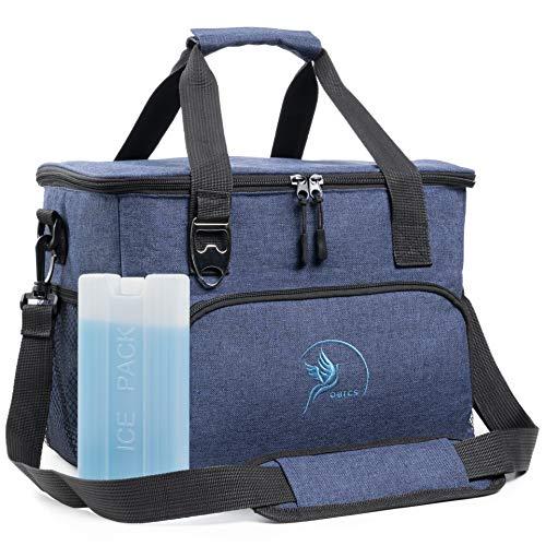 Obics Kühltasche klein 20l Lunchtasche faltbar, Herren Thermo Isoliertasche Picknicktasche blau für Arbeit und Mittagessen, Blaue Thermotasche Essenstasche isoliert für unterwegs und Auto mit Kühlakku