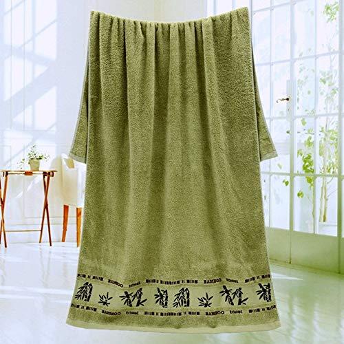 weichuang Toalla de baño de fibra de bambú suave de 70 x 140 cm, para el hogar, toalla súper absorbente para niños y adultos (color: verde, tamaño: 1 pieza de 34 x 74 cm).