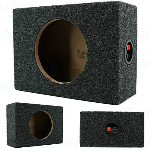 2X Audiotek CA-65CB 6.5- Inch Vented Speaker Box Enclosure Carpet Texture Terminal Cup Product for Great Audio Medium-Density Fibreboard Sturdy Construction -Pair