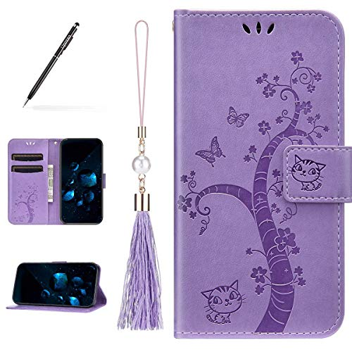Uposao Kompatibel mit iPhone 11 Pro Hülle Leder Katze Schmetterling Muster mit Quaste Anhänger Handyhülle Schutzhülle Flip Wallet Case Tasche Lederhülle Klapphülle,Lila