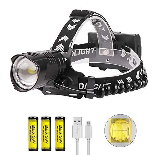 Torcia Frontale LED XHP90 Potente Luce Frontale Ricaricabile USB, LUXNOVAQ 10000 Lumens Lampada da Testa Zoomabile Lampada Frontale Impermeabile con 3 Batterie e 3 Modalità per Campeggio Lavoro