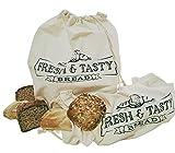 STAWOXX® Bolsa para el pan, 100% algodón, juego de 2 unidades, bolsa reutilizable para guardar pan, baguette, panecillos – mantener el pan libre de plástico – un bonito regalo para cualquier hogar