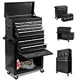 8-Drawer Big Rolling Tool Chest Organizers,Removable Tool Storage Cabinet and Top Chest with Drawers and Lock,Portable Tool Box with Wheels for Warehouse,Garage,Repair Shop (Black)