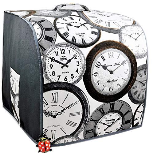 Abdeckhaube für Thermomix, TM 6, TM 5 *Time* Grau, Utensil-Taschen, Canvas-Baumwolle, Gefüttert,