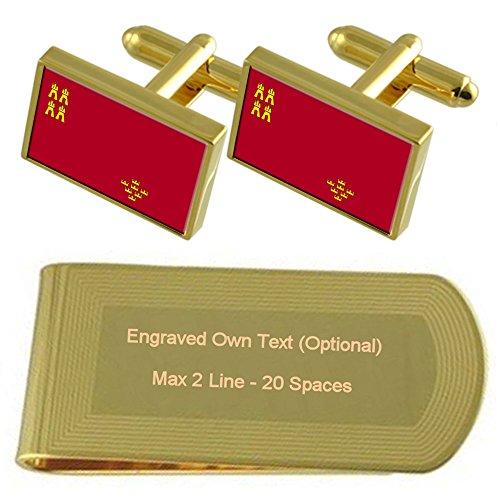 Select Gifts Murcia Bandera de Tono Oro Gemelos Money Clip Grabado Set de Regalo