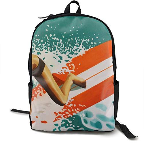 Surfing Boy Travel Computer Bag Laptop Backpack Unisex, School College Fits 15'' Laptop