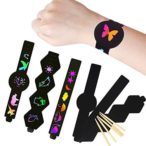 TAZEMAT 30 stuks kras Art armband zwart kras Art Magic Rainbow papier met houten Stylus Stick voor DIY handwerk activiteiten Kids Party Bag vulstoffen tekening schilderij gunsten Supplies