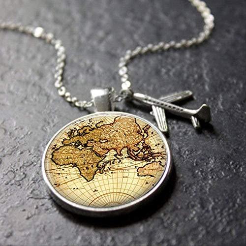 UAGXFC Collar Vintage Mapa del Mundo Collar Viaje Explorar Descubrir Cúpula de Vidrio Plano Encanto Colgante Collar Hombres Mujeres Regalos