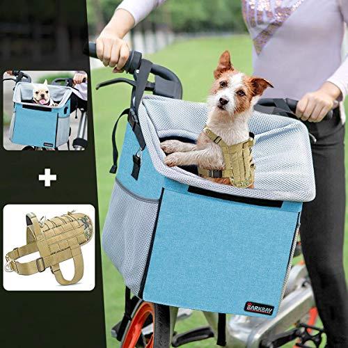 BARKBAY Tactical Dog Harness&Pet Carrier Bicycle Basket Bag Pet Carrier(Camo,S)