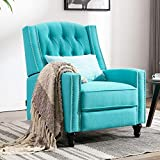 Altrobene Push Back Recliner Chair, Fabric Accent Arm Chair for Living Room/Bedroom/Home Office, Home Theater Seating with Tufted Back, Blue