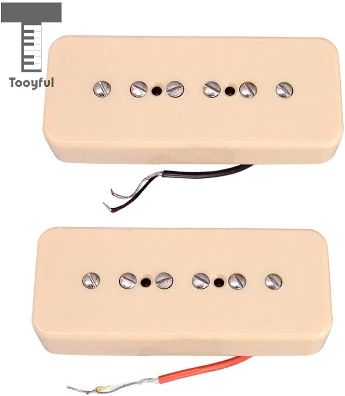 Value5Star  2pcs Cream P90 Soapbar Neck&Bridge Pickups 50 52mm Pole Spacing for LP Electric Guitar