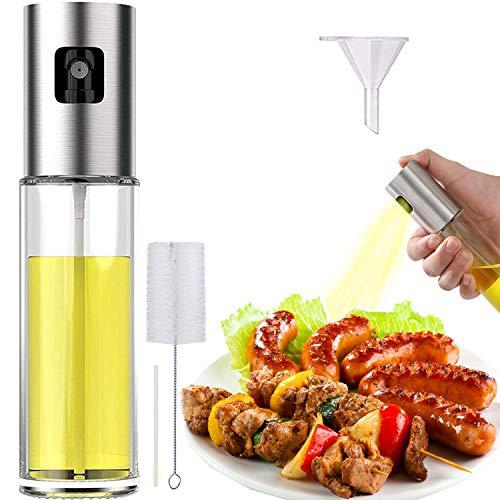 Oil Sprayer Spritzer for Cooking Air Fryer Olive Oil Mister Glass Bottle Evo Dispenser for Vinegar Vegetable Oil Mini Kitchen Gadgets for BBQ, Salad, Baking