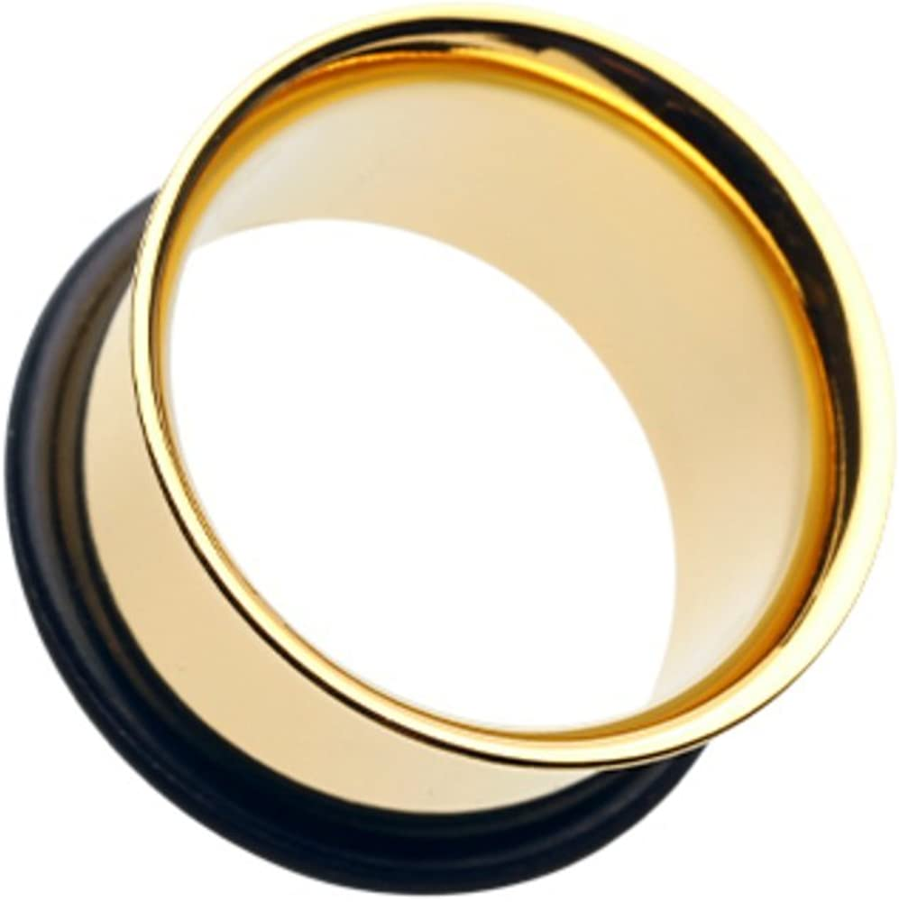 Covet Jewelry Gold Plated Single Flared Ear Gauge Tunnel Plug