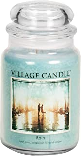 Village Candle Rain Large Glass Apothecary Jar Scented Candle, 21.25 oz, Blue