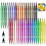 U UZOPI Bush Pen Lettering - 36 Punta Flessibile Morbida a Pennello, Pennarelli Acquerellabili, Penna Stilografica per Lettering, Calligrafia, Disegno a Colori