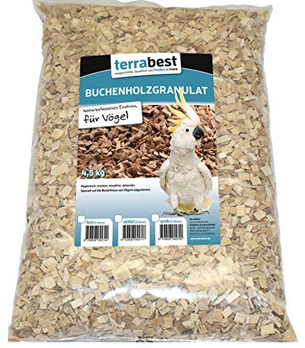 Terrabest Buchenholzgranulat, Einstreu für Vögel 4,5KG grob, mittel, fein (mittel (3-5mm))