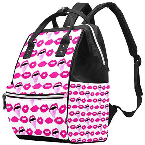 Windel-Rucksack mit sexy Lippen, große Kapazität, Laptop-Rucksack, Reißverschluss, lässig, stilvoll, Rosa