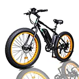 ECOTRIC Fat Tire Electric Bike Beach Snow Bicycle 26' 4.0 inch Fat Tire ebike 500W 36V/13AH Electric Mountain Bicycle with Shimano 7 Speeds Lithium Battery (Orange)