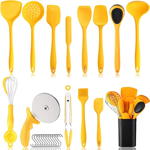 Silicone Kitchen Utensils Set 27PCS Kitchen Utensils with Holder Heat Resistant non Stick kitchen Utensil set Cooking Tools Gadgets for Nonstick Cookware (27 PCS, Yellow)