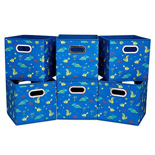 6 Cube Storage Bins Blue 13x13x13 Inch Foldable Dinosaur Coastal Print Fabric Storage Basketes for Home Organizers Storage Drawer,QY-SC06-6