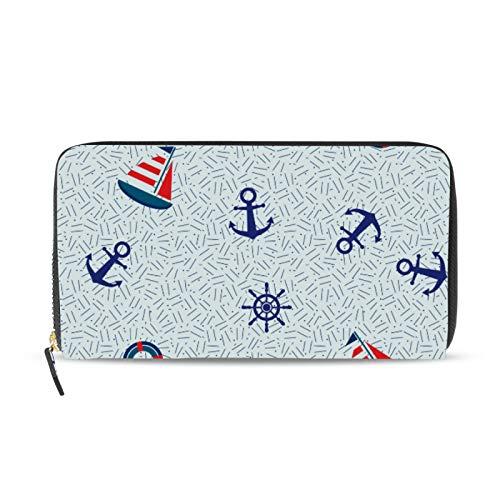 iRoad - Cartera de cuero con diseño de ancla, timón y barco, tarjetero y bolsillo para monedas, personalizable, para mujeres y niñas