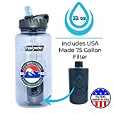 Epic Nalgene OG | Water Filtration Bottle | Wide Mouth 32 oz | American Made Bottle | USA Made Filter Removes 99.99% of Tap Water Contaminants Lead Chlorine Chromium 6 Arsenic Chloroform (Smoke Grey)
