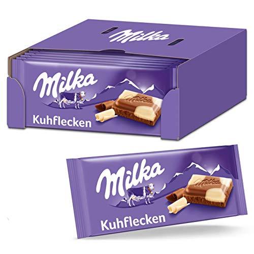 Milka Krowie plamy 23 x 100 g, delikatnie topiąca się tablica czekoladowa z płatkami krowy z białej czekolady