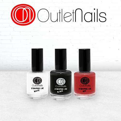Pack 3 Stamping Lac/Stamping Lac 15ml / Red + White + Black/Nail Stamping Deco/Alta calidad/Decoración Uñas