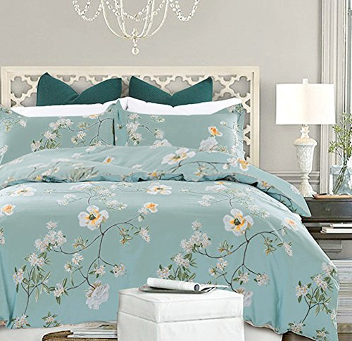 NANKO Bedding Duvet Cover Set Queen, 3 Pieces – 800-Thread Floral Hypoallergenic Microfiber Down Comforter Quilt Cover Zipper & Tie for Women & Men's Bedroom, Luxury Guestroom Decor -Teal