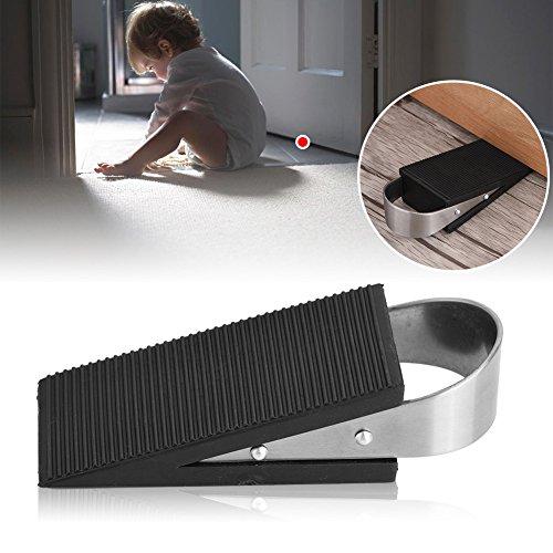 Orgrimmar Door Stopper 2 Pcs Rubber Black Wedge Door Stops with Metal Handle for Classroom, Bedroom, Commercial Store, Warehouse (Wedge)