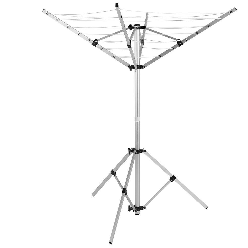 Tendedero exterior, secadoras paraguas portátil cuerda 16 m Captelec Tendedero con 4 brazos soporte giratorio 3 patas para jardín Camping: Amazon.es: Hogar